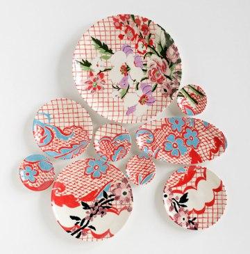 2013, 30″H x 28″W x 2″D, 9 hand-painted porcelain plates with glaze and underglaze, Photo: John Polak