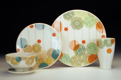 Porcelain with iron oxide transfer decals, Dimensions vary