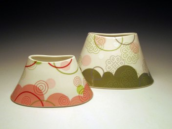 "Porcelain with decals, 6""h x 7"" x 10.5"" & 4""h x 5.5"" x 8"""