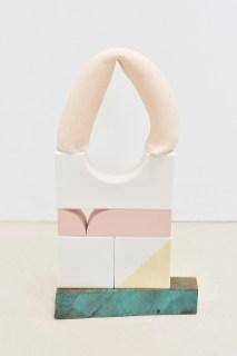2017, porcelain, stoneware, Ren foam, acrylic paint, wood, underglaze, 17x10x3
