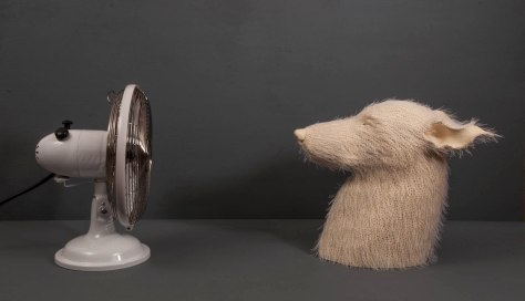 "Earthenware, thread, electric fan, cone 6 oxidation, 36"" x 14"" x 12"""