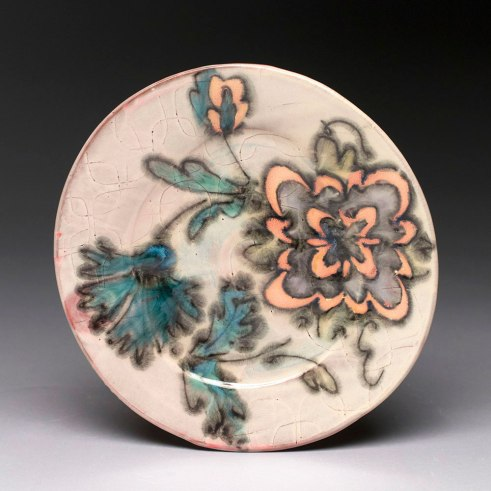 """thrown and altered earthenware, slips, glaze, .5""""h x 7""""w x 7.5""""w, 2015"""