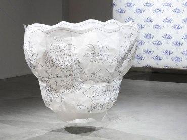 installation view, Tyvek, embroidery floss, digital print, 2015