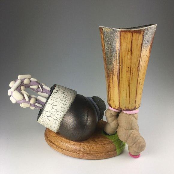"""2018, Ceramic, wood, wood filament, epoxy, rhinestones, 6""""x5""""x4"""""""