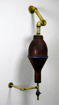 Wood-fired Stoneware, steel, brass valve, 2012