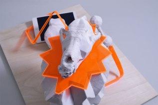 "2015, W22.5""xD16.5""xH13"", 3D printedand cast porcelain, handbuilt stoneware, pexiglass"
