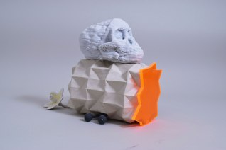 "2015, W W13""xD12""xH8.5, 3D printedand cast porcelain, handbuilt stoneware, pexiglass"