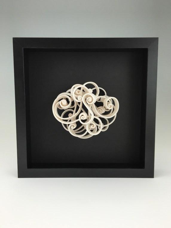 """porcelain, glaze, wire, frame, 10 x 3 x 10"""", 2016"""