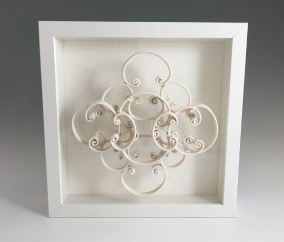 """porcelain, glaze, acrylic, wire, frame, 10 x 3 x 10"""", 2016"""
