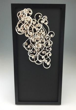 """porcelain, glaze, wire, frame, 10 x 3.5 x 20.5"""", 2016"""