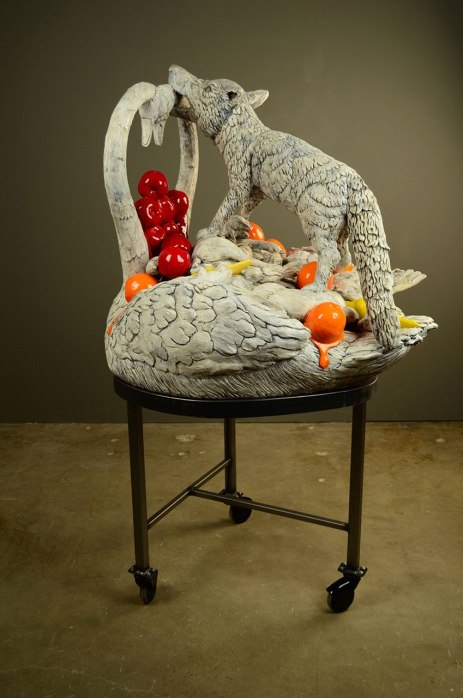 "52 x 30 x 30"", ceramic, mixed media, 2010"