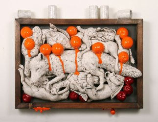 "2010, 36 x 10 x 31"" ceramic, mixed media"