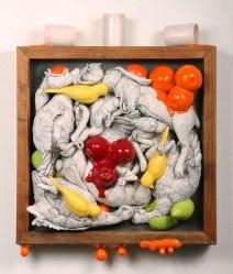 """2010, 30 x 24 x 9"""" ceramic, mixed media"""