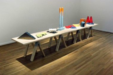 Reed Smith Gallery, The Clay Studio of Philadelphia, Ceramic, Mixed Media, Wood Table is 16 feet in length, Dimensions Variable, 2014