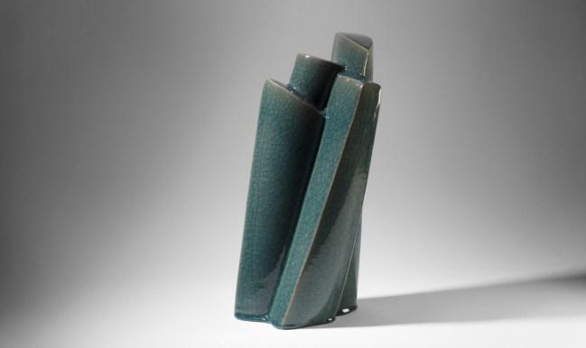 2014. Slab built, sanded, polished,Celadon Glaze, light reduction. h54 x w 25x d 25cm