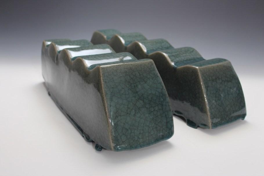 2014. Stoneware. Slab Built, sanded, Celadon Glaze. h16 x w44 x d16cm. Photo by Brian Misavage.