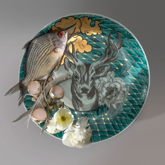 2015, Archival Pigment Print, 36 x 36 inches, Original Platter: Porcelain, Glaze, China-Paint, Gold Luster, 16 x 2 inches