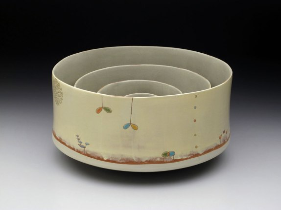 "2012, earthenware with slip, glaze, 8"" x 15"" x15"""