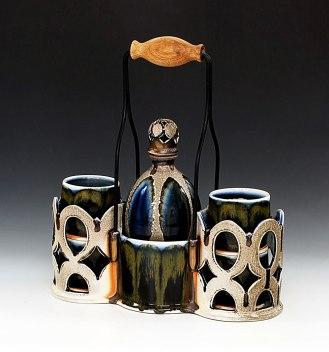 """Soda-Fired Porcelain, Steel, Oak, 16""""x14""""x6"""""""