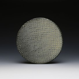 1 x 8 x 8, Wheel thrown white stoneware with water-etched crosshatch texture with applied flashing slip, soda fired to cone 10 in reduction.