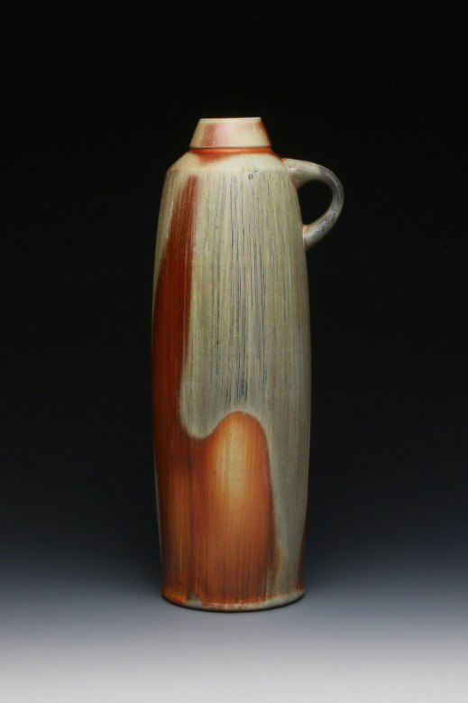 14 x 6 x 5, Wheel thrown white stoneware with applied flashing slip and celadon glaze, soda fired to cone 10 in reduction.