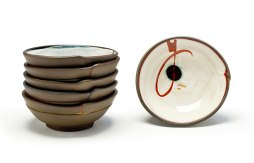 "each: 7.5"" Diameter x 2.5"" H, Hand-built stoneware with underglaze decoration, 2017"
