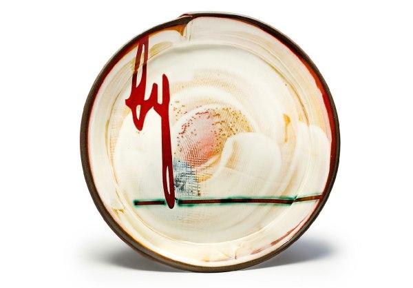 "11"" Diameter x 1.5"" H, Hand-built stoneware with underglaze decoration, 2017"