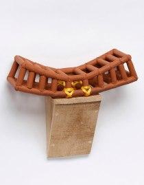 """Stoneware, Nylon Twine, Brazilian Crate Wood, 12""""hx14″wx7″d 2016"""