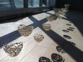 Suspended porcelain nests, porcelain, thread, Cone 6 oxidation