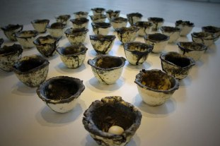 36 Offering bowls filled with bones and eggs, Stoneware, Bones, Eggs, Cone 6 Ox, Slips, Oxide Wash, 2013