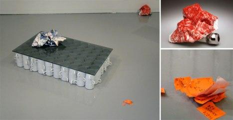 2010, earthenware, glaze, underglaze, found objects