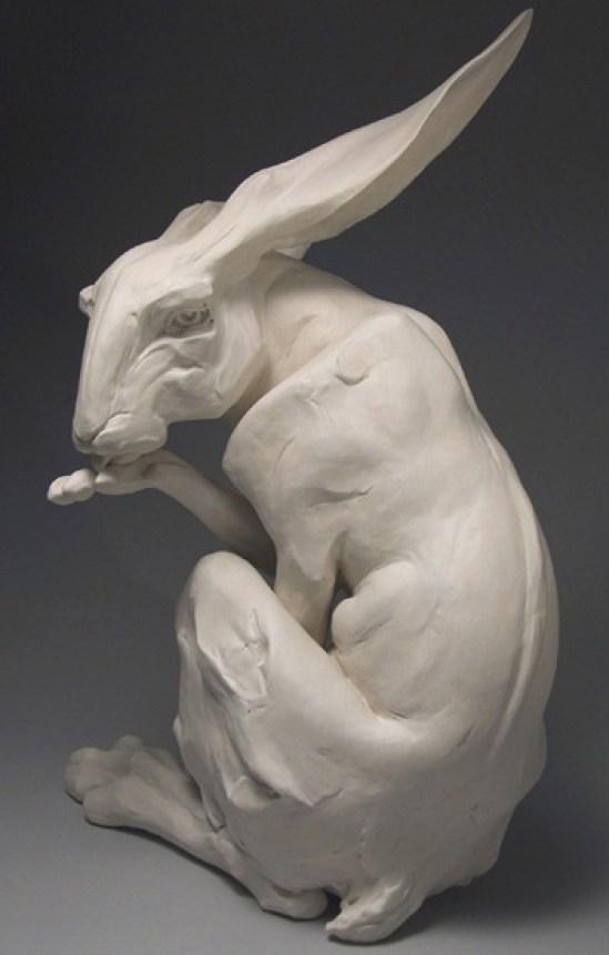 """Noli Me Tangere, 30"""" h x 21"""" l x 18""""w, 2005, stoneware, white porcelain"""
