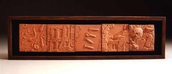 "terra cotta, wood frame, 2006, 4 1/4"" x 15 1/2"" x 1 3/4"""