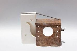 Metal box, plaster mold, car tire stripe, 30 x 23 cm. 2013