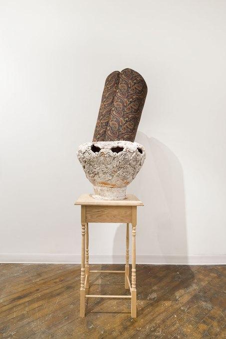 Earthenware, fabric, foam, wood, 24'x24'x 54', 2015