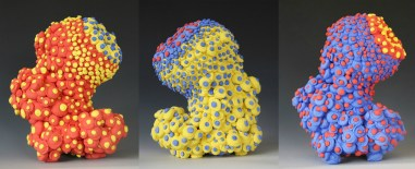 "bloom series, colored porcelain, 7.5 X 4.5 X 5"" (approximate dimension of each form)"