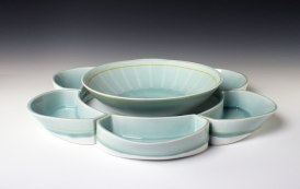 reduction fired porcelain, decals, 3 ½ x 22 ½ x 22 ½.