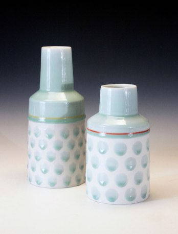 reduction fired porcelain, decals, 8 ¾ x 5 ½ x 5 ½