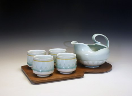 """reduction fired porcelain, decals, walnut, 7 x 10"""" x 18 ½"""
