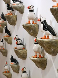 "Low-fire Ceramic and Sound, Dimensions Variable (puffins are approx. 10""x10""x6"") 2012"