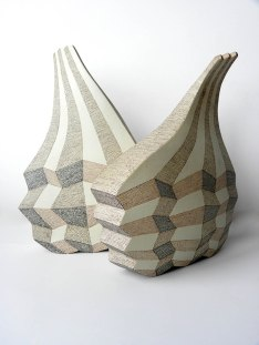Stoneware Clay, Hand Shaping, 1200 C, 26x15x41 & 28x11x36 cm, Brush Decoration with Coloured Slips, 2012
