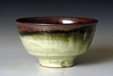 Tenmoku with Nuka glazes. 6 inches across.