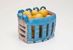 """Fruit Basket, 7"""" x 6"""" x 5"""", Earthenware, Yellow Plums, 2011"""