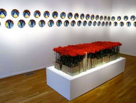 """Red Carpet, 8' x 4' 22"""", and Wall Plates, The Clay Studio, 2011"""