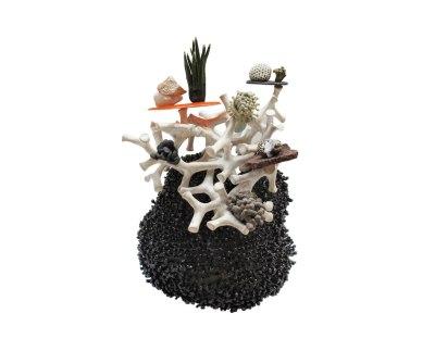 Ceramic, resin, glazed scoria, glazed quartz, 11'' x 14'' x 8'', 2014