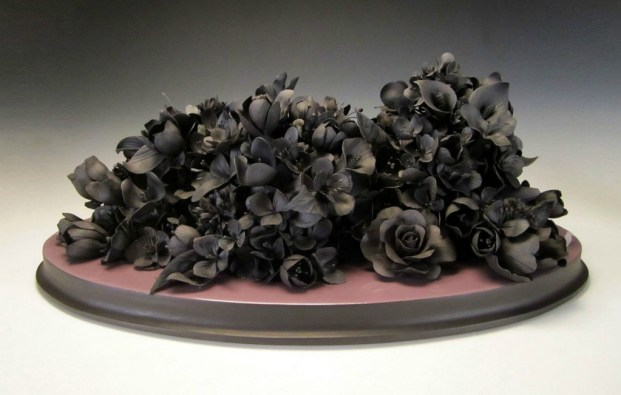 """hand formed black clay, resin, wood, 25"""" x 16"""" x 9.5"""""""