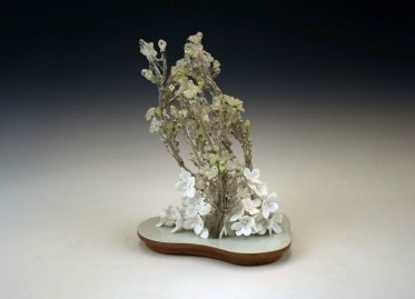 """hand formed porcelain, resin dipped silk flowers, vintage walnut, paint, 8"""" x 7 1/2"""" x 11"""""""