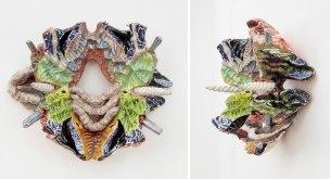 """19"""" x 16"""" x 10"""", hand built terra-cotta clay, glaze, underglaze decals, luster, hoop earrings, 10/2016"""