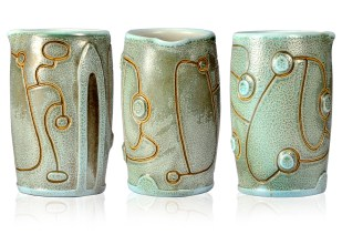 2012, 5 x 3 inches, Porcelain: Thrown, trimmed, water-carved, carved, glazed, cone 10 soda-fired