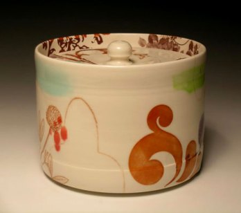 "7.5""w x 5""h, mid-range porcelain, oxidation, with laser transfers"